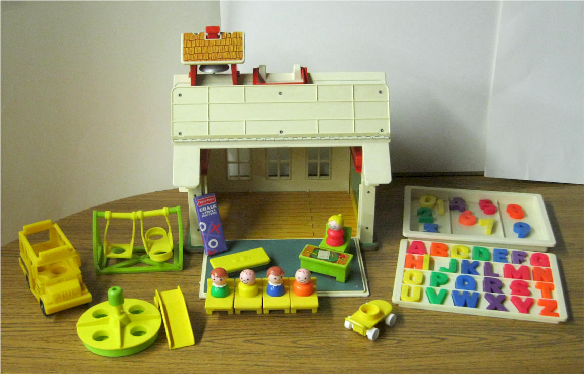 Fisher Price Play Family School #923. First Version. Masonite Base. Teacher  With Desk And Chair. Four Figures With Old Style School Desks, ...