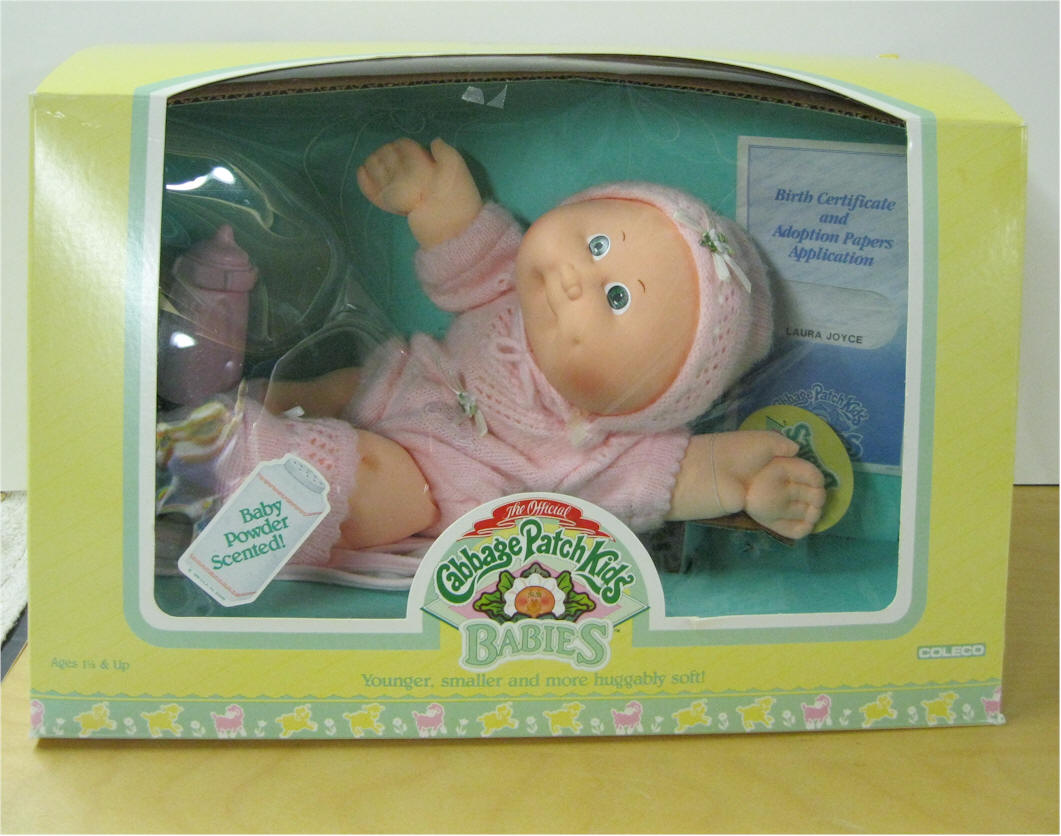 Cabbage patch clothes laura joyce born october 1 vintage cpk green eyed bald bean butt baby 1 dimples 3 piece pink knit outfit blanket diape and pink bottle 1betcityfo Images